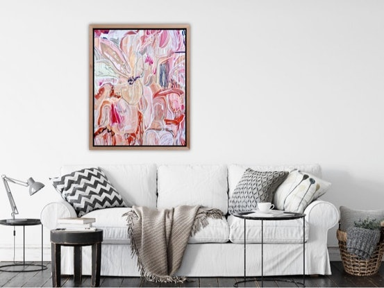 (CreativeWork) 'Floral Bliss' Large 122x91 Acrylic on Stretched Canvas, sealed and ready to hang   by Carley Bourne. #<Filter:0x00007fcaf5cf23b8>. Shop online at Bluethumb.