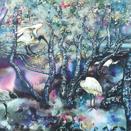 (CreativeWork) Ibis at Ningi Creek by Bronwyn Doherty. Acrylic Paint. Shop online at Bluethumb.