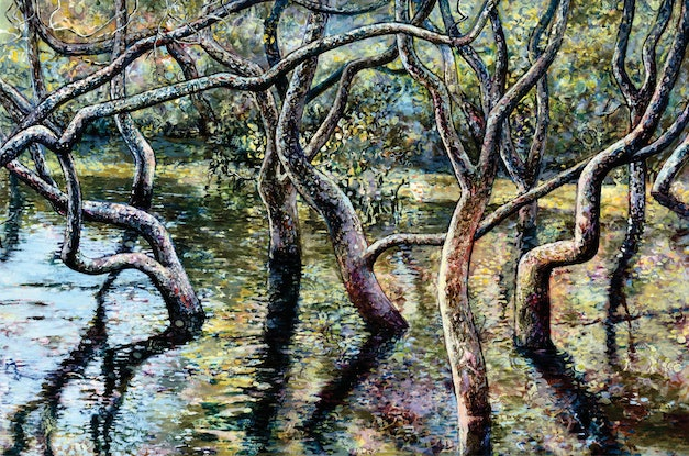 (CreativeWork) Mangroves Nestled in the Quiet Waters by Bronwyn Doherty. Acrylic Paint. Shop online at Bluethumb.