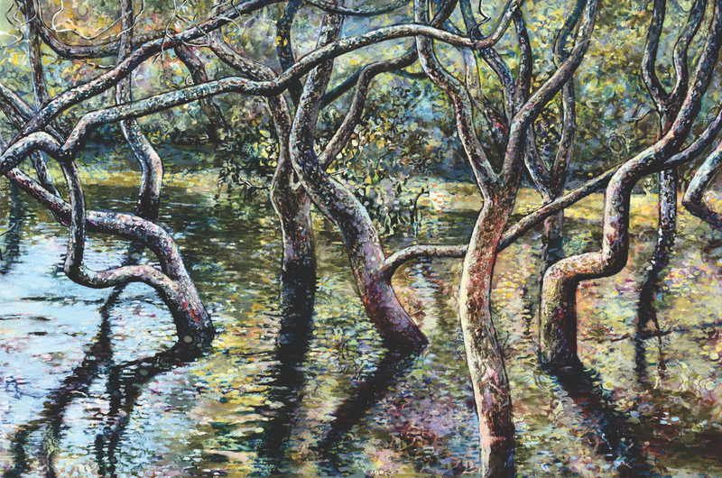 (CreativeWork) Mangroves Nestled in the Quiet Waters by Bronwyn Doherty. arcylic-painting. Shop online at Bluethumb.