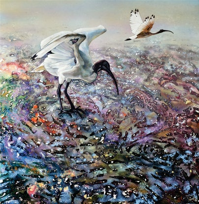 (CreativeWork) Ibis Foraging on the Mudflats by Bronwyn Doherty. Acrylic Paint. Shop online at Bluethumb.