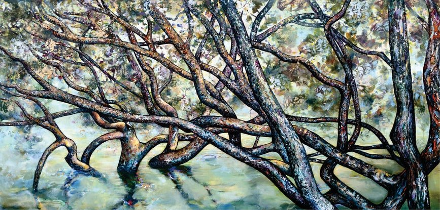 (CreativeWork) Mangrove Peace by Bronwyn Doherty. Acrylic Paint. Shop online at Bluethumb.