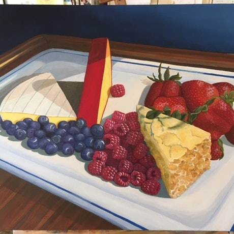 (CreativeWork) Fruts and cheese by Kay H Bowman. Acrylic Paint. Shop online at Bluethumb.