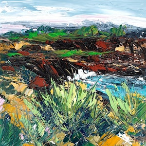 (CreativeWork) Rugged Country 2 - Landscape Painting by Angela Hawkey. oil-painting. Shop online at Bluethumb.