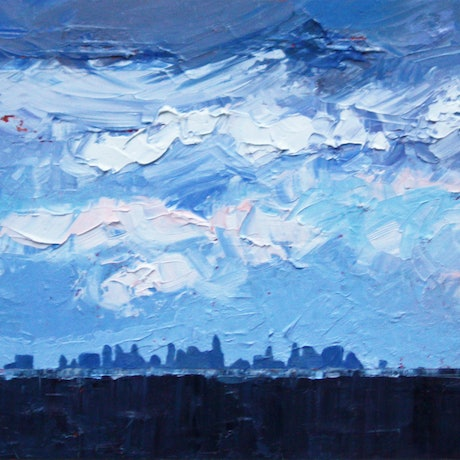 (CreativeWork) Melbourne City At A Distance by Claire McCall. Oil Paint. Shop online at Bluethumb.