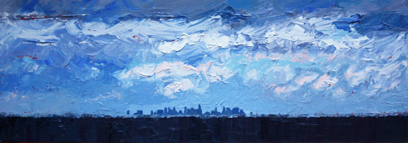 (CreativeWork) Melbourne City At A Distance by Claire McCall. oil-painting. Shop online at Bluethumb.
