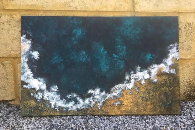 (CreativeWork) Undiscovered Ocean Scene by Magdalena Knight. Acrylic Paint. Shop online at Bluethumb.