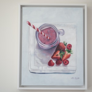 (CreativeWork) Smoothie It Over by Mia Laing. oil-painting. Shop online at Bluethumb.