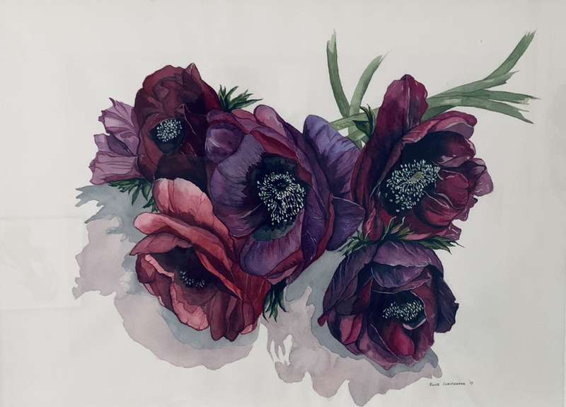 (CreativeWork) Anemones by Julie Christensen. watercolour. Shop online at Bluethumb.