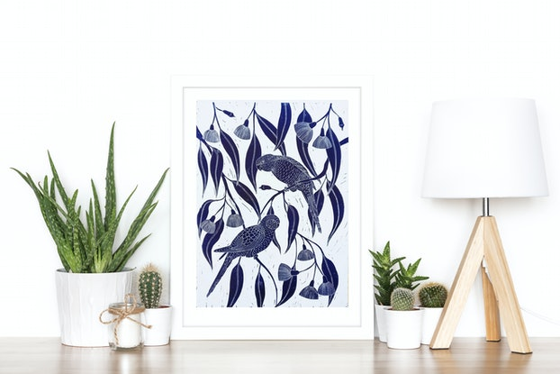 (CreativeWork) Rosella's in the flowering gum - framed Ed. 12 of 150 by Marinka Parnham. Print. Shop online at Bluethumb.