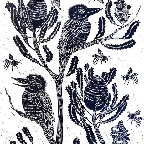 (CreativeWork) Kookaburra's in the natives Ed. 41 of 100 by Marinka Parnham. Print. Shop online at Bluethumb.