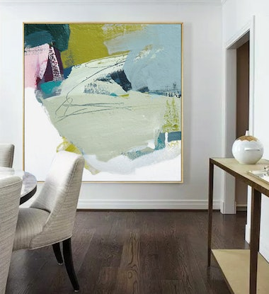 (CreativeWork) Bask -  square, green, blue, pink abstract by Stephanie Laine. #<Filter:0x00007f0864998950>. Shop online at Bluethumb.