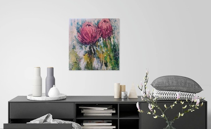 (CreativeWork) Abstract - Proteas in the Wild by Maria Cross. Oil Paint. Shop online at Bluethumb.