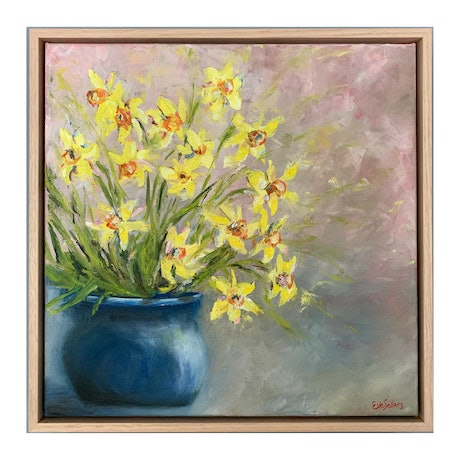 (CreativeWork) Daffodils in Blue (Framed) by Eve Sellars. Oil Paint. Shop online at Bluethumb.