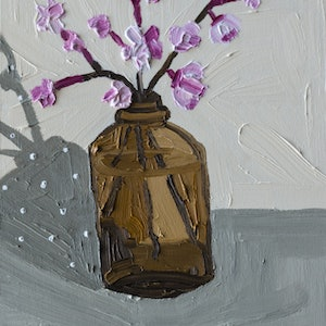 (CreativeWork) Little Amber Vase by Katherine Warburton. oil-painting. Shop online at Bluethumb.