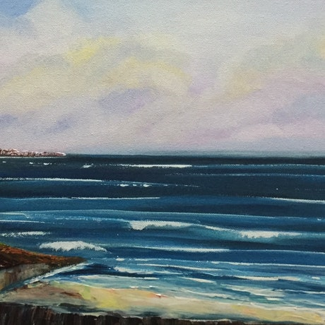 (CreativeWork) Private Beach by Julie Dynan. Acrylic Paint. Shop online at Bluethumb.