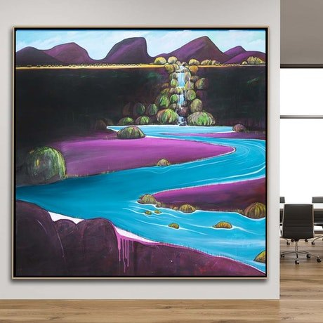 (CreativeWork) Meandering Waterfall by Tania Chanter. Acrylic Paint. Shop online at Bluethumb.