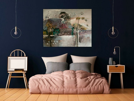(CreativeWork) Abstract Landscape - Dreamscape by Susan Trudinger. Acrylic Paint. Shop online at Bluethumb.