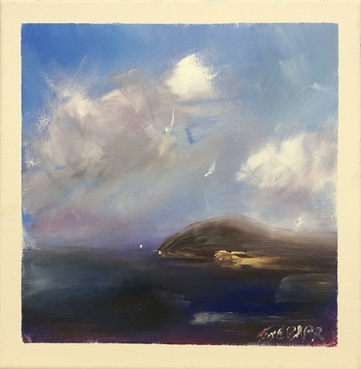 (CreativeWork) Winter sky - the Bluff - seascape by Tina Barr. Acrylic Paint. Shop online at Bluethumb.