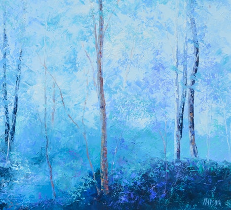 (CreativeWork) LANDSCAPE IN SHADES OF LAVENDER AND BLUE by Jan Matson. Oil Paint. Shop online at Bluethumb.