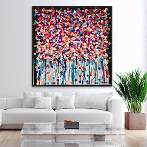 (CreativeWork) Bouquet 122x122 framed large abstract by Sophie Lawrence. acrylic-painting. Shop online at Bluethumb.
