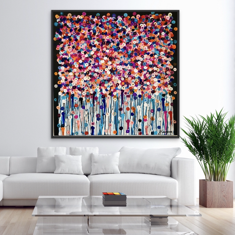 (CreativeWork) Bouquet 122x122 framed large abstract by Sophie Lawrence. Acrylic Paint. Shop online at Bluethumb.