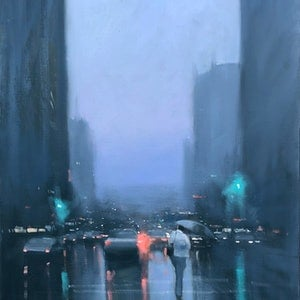 (CreativeWork) Grenfell Street Showers - rainy cityscape by Mike Barr. oil-painting. Shop online at Bluethumb.