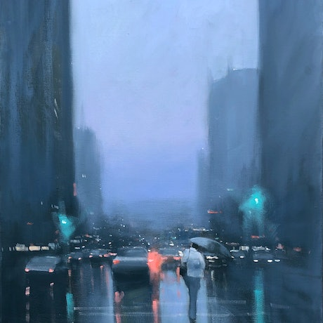(CreativeWork) Grenfell Street Showers - rainy cityscape by Mike Barr. Oil Paint. Shop online at Bluethumb.