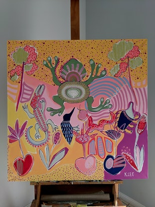 (CreativeWork) 'What made Tiddalik laugh/1' Dreamtime stories by Karen Lee. Acrylic Paint. Shop online at Bluethumb.