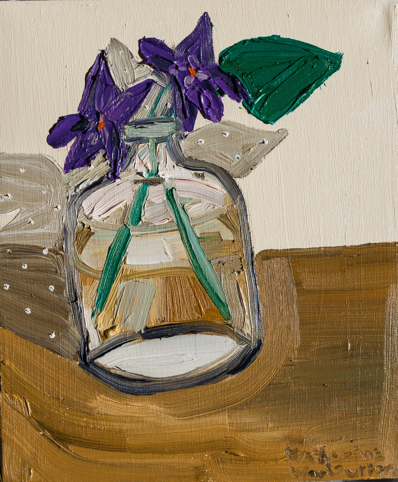 (CreativeWork) Violets in a Perfume Bottle by Katherine Warburton. Oil Paint. Shop online at Bluethumb.