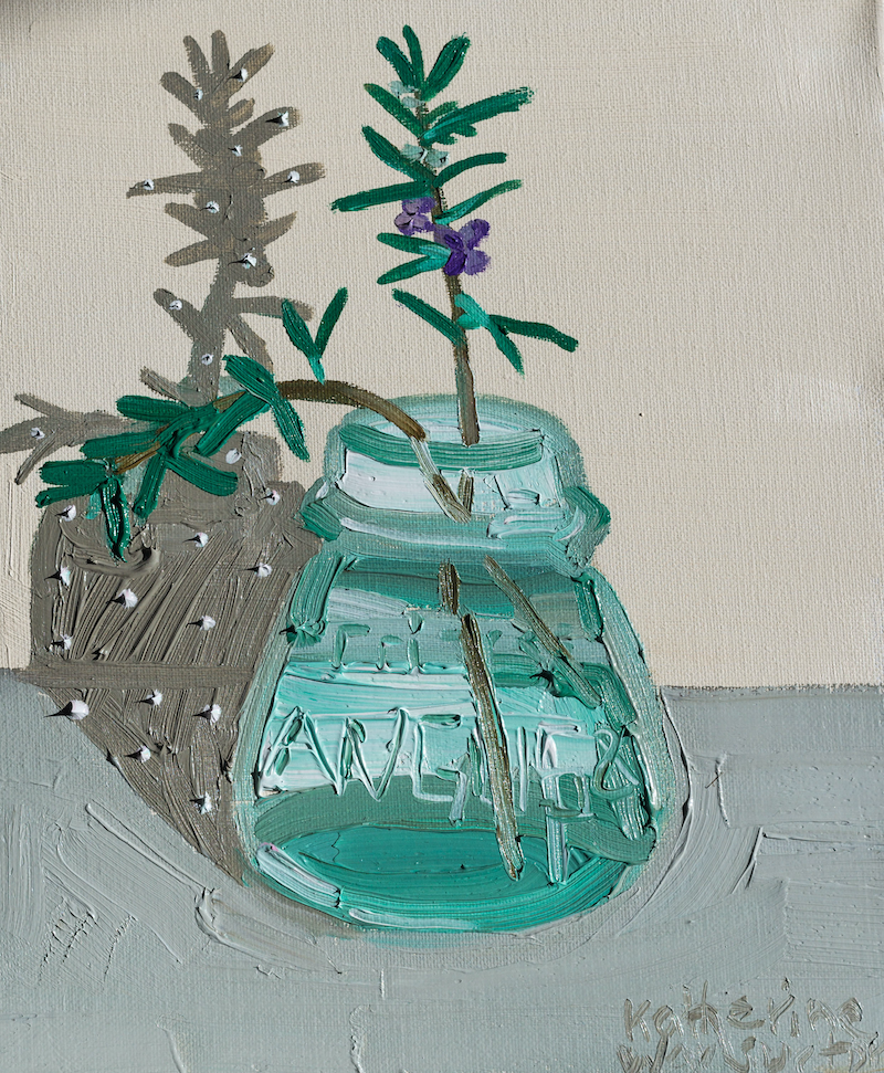 (CreativeWork) Ink Pot Rosemary by Katherine Warburton. Oil Paint. Shop online at Bluethumb.