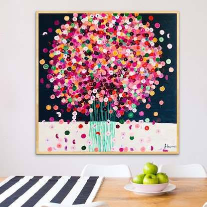 (CreativeWork) Posie 102x102 framed abstract  by Sophie Lawrence. Acrylic Paint. Shop online at Bluethumb.