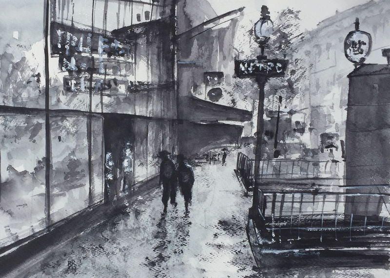 (CreativeWork) Rainy Day in Paris III by Bernd Rieve. Watercolour Paint. Shop online at Bluethumb.