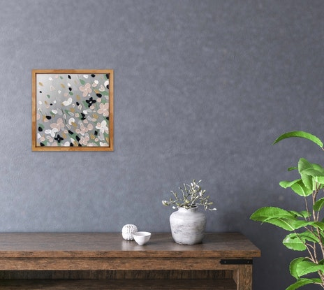 (CreativeWork) Flowers 5 - oak framed abstract by Kerry Leigh. Acrylic Paint. Shop online at Bluethumb.
