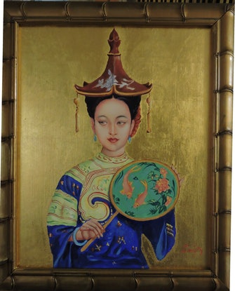 (CreativeWork) 'Chinese Lady with Fan' by Rob Davis. Oil Paint. Shop online at Bluethumb.