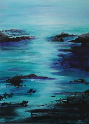 (CreativeWork) Tranquil Estuary  by Lorraine Moore. Acrylic Paint. Shop online at Bluethumb.
