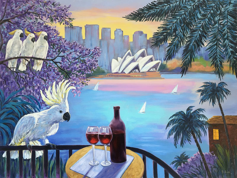 (CreativeWork) Sydney Holidays – Red Wine, Cockatoos, and Opera House Views by Irina Redine. Oil Paint. Shop online at Bluethumb.