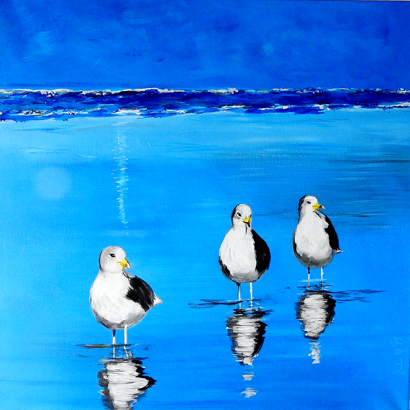 (CreativeWork) It's a Seagull Kind of Day by julie hollis. Acrylic Paint. Shop online at Bluethumb.