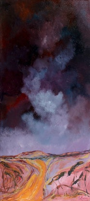 (CreativeWork) Dark Night on The Copper Road by Scott Jackson. Acrylic Paint. Shop online at Bluethumb.