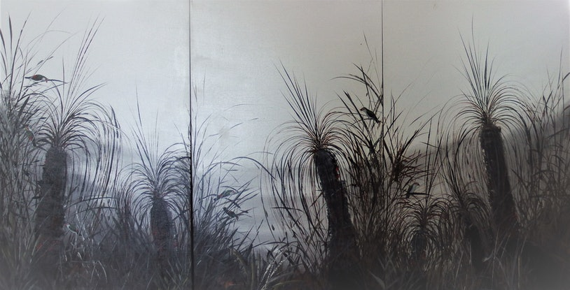 "(CreativeWork) ""Misty Grass"" An62 by Greg Stevenson. Acrylic Paint. Shop online at Bluethumb."