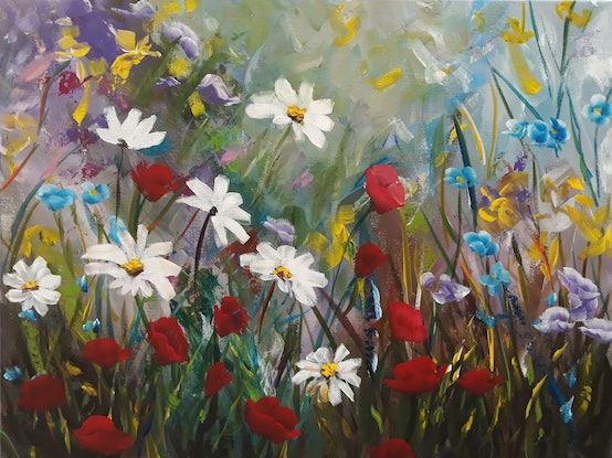 (CreativeWork) Wildflowers 1  by Debra Dickson. Acrylic Paint. Shop online at Bluethumb.