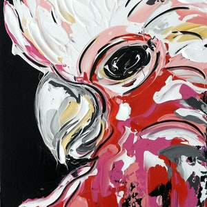 (CreativeWork) Abstract Galah by Lisa Fahey. #<Filter:0x00005597d63b2220>. Shop online at Bluethumb.
