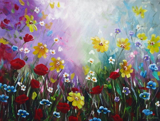 (CreativeWork) Wildflowers 2 - Little ray of sunshine by Debra Dickson. Acrylic Paint. Shop online at Bluethumb.