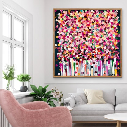 (CreativeWork) Lydia 102x102 framed abstract  by Sophie Lawrence. Acrylic Paint. Shop online at Bluethumb.