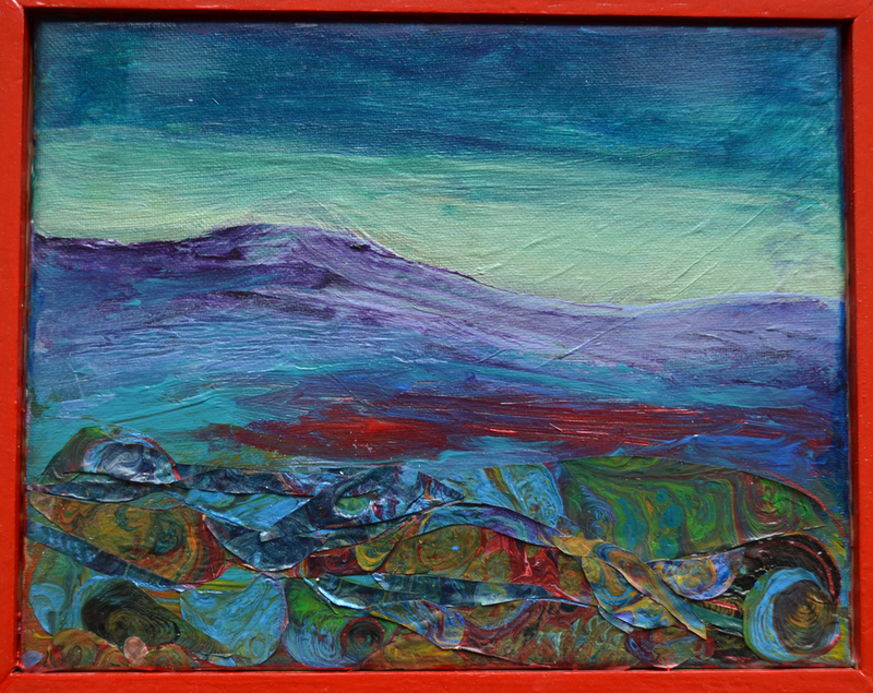 (CreativeWork) Mountain at Dusk by Jennifer Lacey. Acrylic Paint. Shop online at Bluethumb.