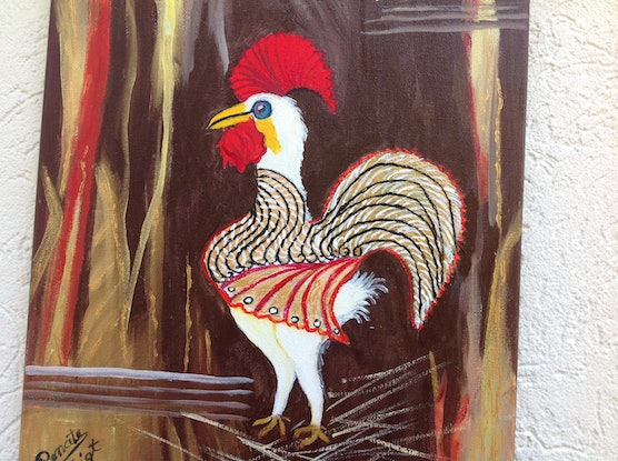 (CreativeWork) A   COCKY  ROOSTER by Renate Voigt. Acrylic Paint. Shop online at Bluethumb.