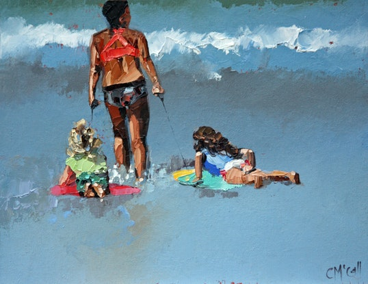 (CreativeWork) Skimboarding by Claire McCall. Oil Paint. Shop online at Bluethumb.