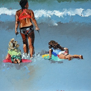 (CreativeWork) Skimboarding by Claire McCall. oil-painting. Shop online at Bluethumb.