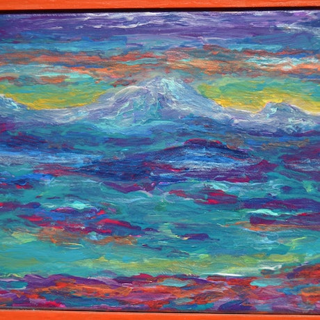 (CreativeWork) Volcanic Mountain by Jennifer Lacey. Acrylic Paint. Shop online at Bluethumb.