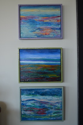 (CreativeWork) The Bay by Jennifer Lacey. Acrylic Paint. Shop online at Bluethumb.